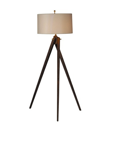 100 Essentials Birch Tripod Floor Lamp, Natural/White