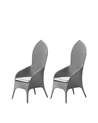 100 Essentials Set of 2 Flora All-Weather high Back Dining Chairs, Jetson/Sunbrella Natural
