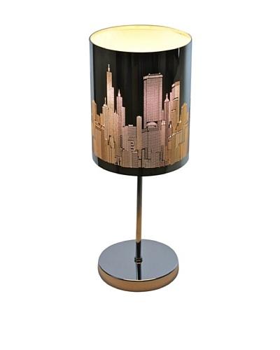 100 Essentials Urban Skyline Table Lamp, Black/Silver