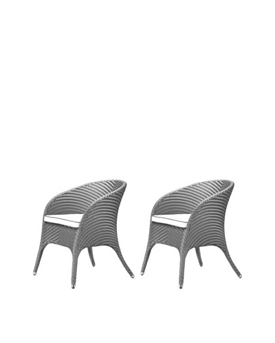 100 Essentials Set of 2 Flora All-Weather Dining Armchairs, Jetson/Sunbrella Natural