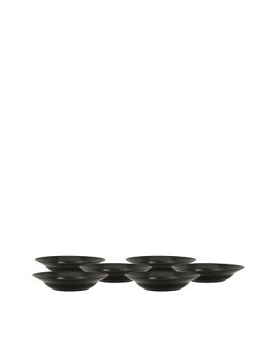 10 Strawberry Street Set of (6) 9 Black Rim Soup Bowls