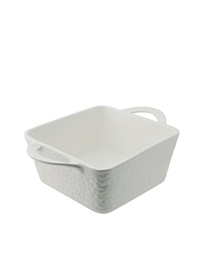 10 Strawberry Street Square Dimple Bowl with Handles, White