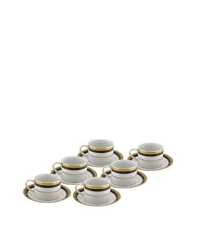 10 Strawberry Street Set of (6) 8-Oz. Sahara Black Cups with Saucers