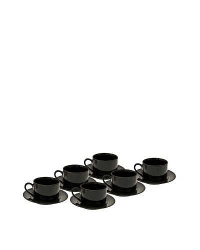 10 Strawberry Street Set of (6) 6-Oz. Black Rim Cups with Saucers