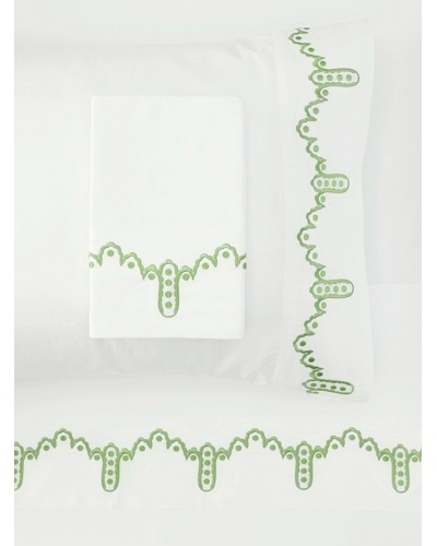1891 by SFERRA Frou Frou Sheet Set [White/Green]