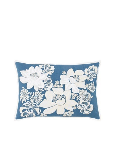1891 by SFERRA Celia Decorative Pillow, Teal, 14 x 22