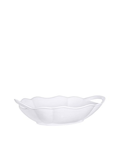 Pure White Handled Oval Bowl