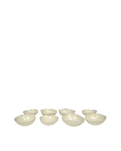 Set of 8 Vintage Handmade Ceramic Bowls, Cream