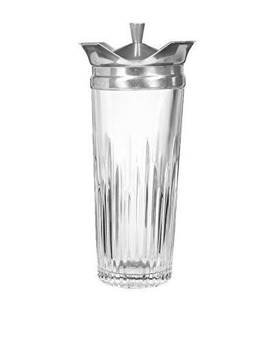 1960s Glass Cocktail Shaker, Clear/Silver