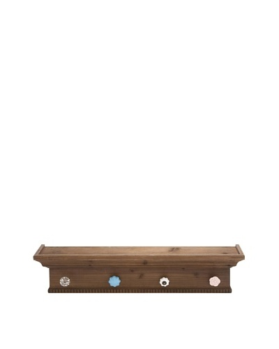 Japanese Pine Wood Shelf With Knob Hooks
