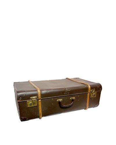 Vintage Leather Traveling Trunk III, Dark Brown