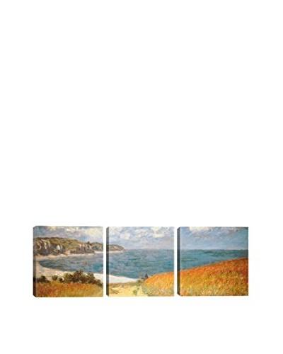 Claude Monet Path Through The Corn At Pourville (Panoramic) 3-Piece Canvas Print