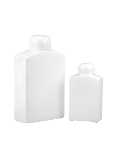 Set of 2 Ceramic Jars, White