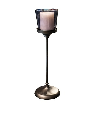 Glass Candle Holder With Stand, Navy Blue