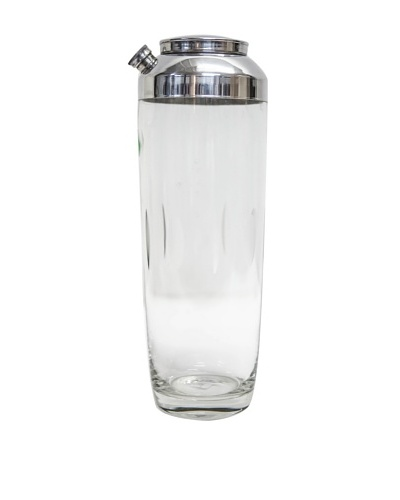 Rare Vintage Circa 1940 Etched Glass Cocktail Shaker with Silver Top