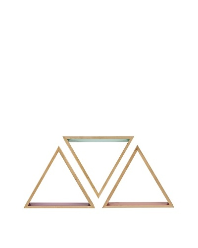 Set of 3 Assorted Eva Wooden Triangle Shelves