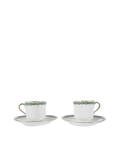 Pair of French Limoges Teacup & Saucer, White/Green/Gold
