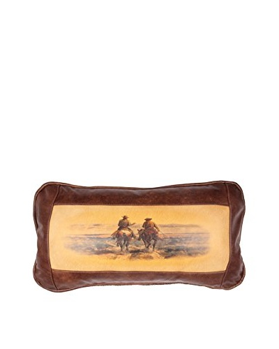Cussin' & Discussin' Leather Pillow, Brown