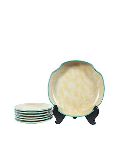 1962 7-Piece Ekeby Fruit Bowl & Plate Set, Yellow/Light Blue