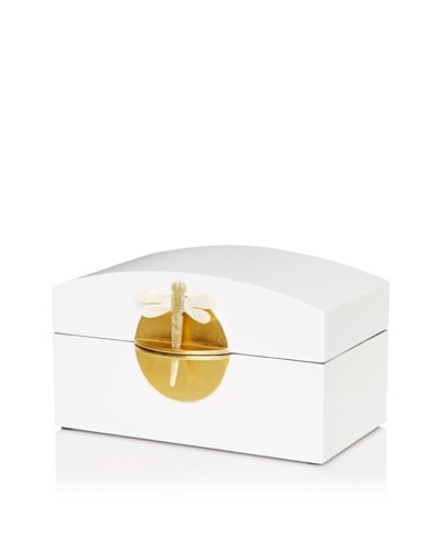 Lacquer Box With Horn Dragonfly Key & Round Gold Lock, White