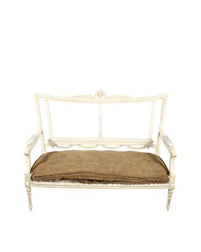 French Louis XVI Style Settee, White/Brown