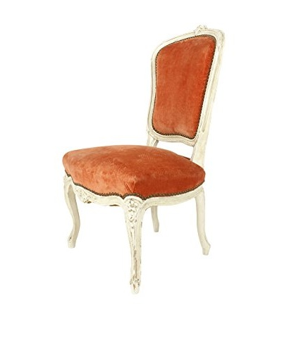 1920's French Parlor Chair, Orange/White