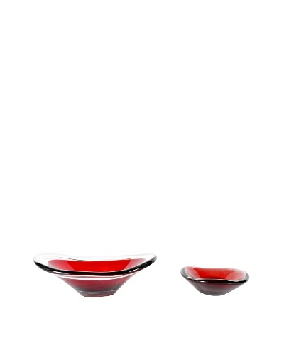 Set of 2 Mid-Century Modern Art Glasses, Red/Clear