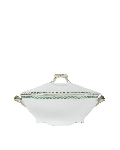 French Limoges Tureen with Lid, White/Green/Gold