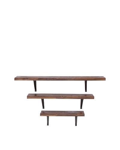 Set of 3 Wood Metal Wall Shelves