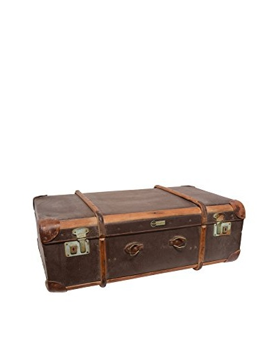 Vintage Leather Traveling Trunk IV, Dark Brown