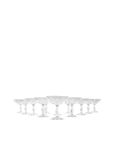 Set of 12 French Coupe Martini Glasses, Clear