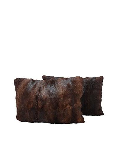 Set of 2 Brown Mink Pillows, Pair V, 14 x 20