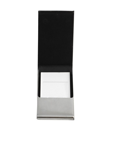 Black Leather Business Card Case with Flip Top and Magnetic Closure