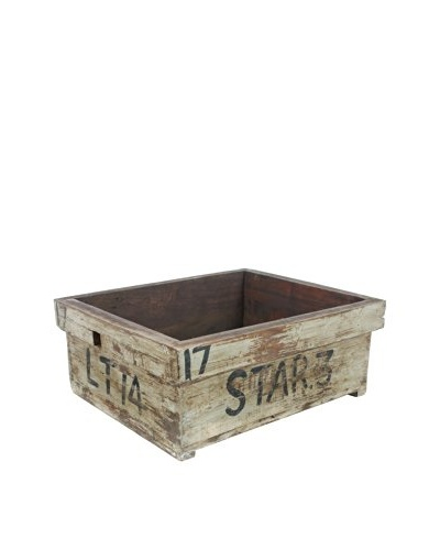Reclaimed Wood Tool Box, Oyster Gray, Gray/Brown