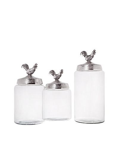 Set of 3 Silver Rooster Top Canisters