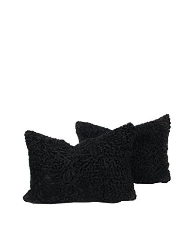 "Set of 2 Black Persian Lamb Pillows, 14"" x 20"""