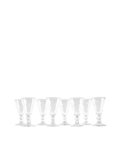 Set of 8 Etched Sherry Glasses, Clear