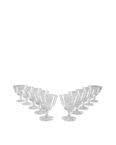 Set of 10 French Etched Port Glasses, Clear