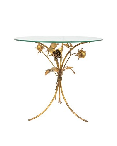 Vintage Glass-Topped Golden Rose Table, Gold