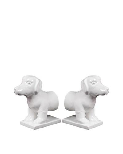 Set of 2 Ceramic Dog Bookends, White