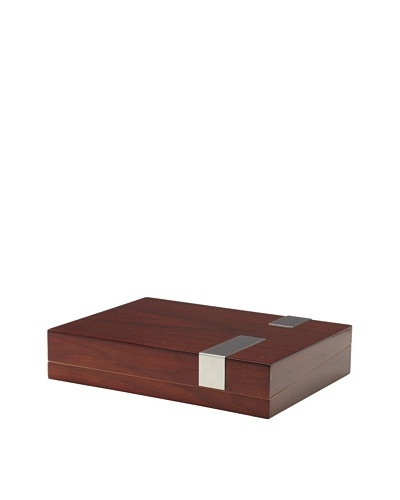 Small Lacquered Wood Humidor, Brown