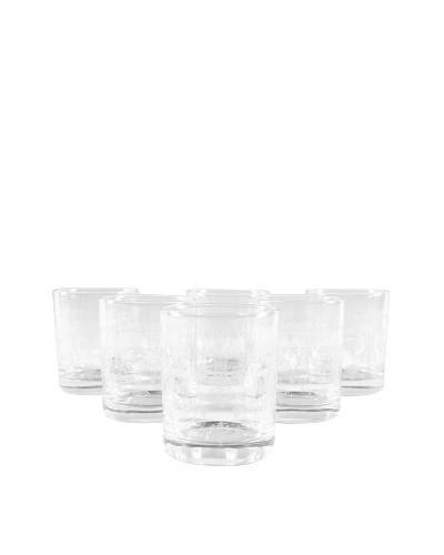 Set of 6 Scotch Glasses, Clear/White