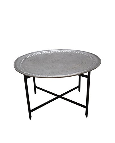 Vintage Aluminum Tray Table with Iron Base, Silver/Black
