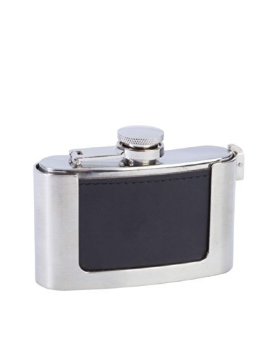 Leather Bound Belt Buckle Flask