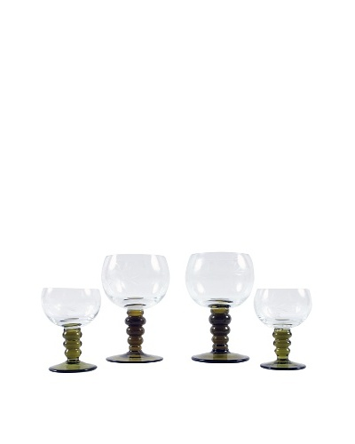 Set of 4 Roemer Style Stemware, Green/Clear