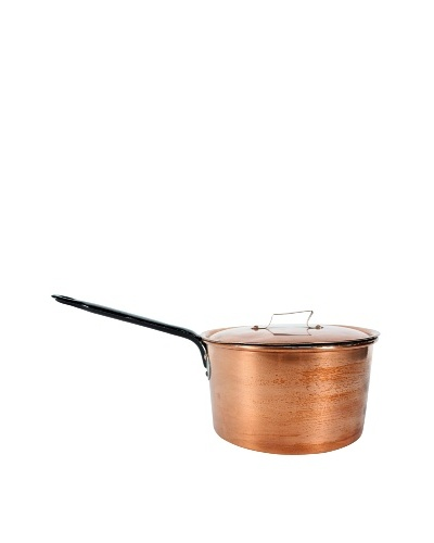 Vintage French Copper Pot, Metallic/Black