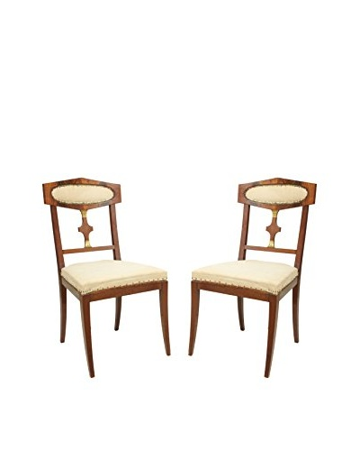 Pair of Mahogany Empire Style Library Chairs, Brown/White/Gold