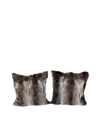 Pair of Upcycled Bear Pillows, Brown/Black, 20 x 20