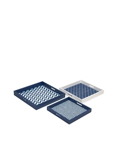 Set of 3 Essentials Graphic Navy Trays