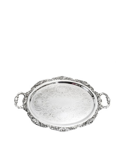 Vintage Oval Silver Serving Tray with Handles, c.1950s